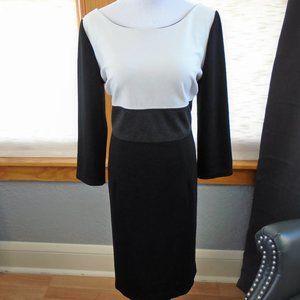 WHBM White Gray Black Color Block Dress Size 12
